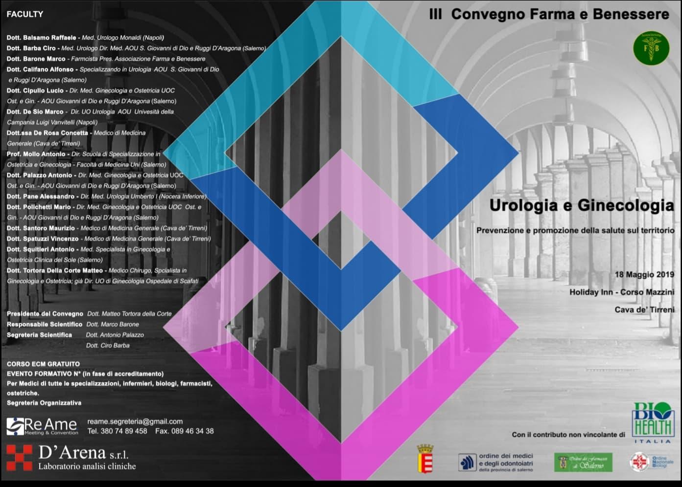 Sabato 18 Maggio Holiday Inn Cava De Tirreni Convegno Ecm Biohealth Italia Urologia E Ginecologia Farma E Benessere